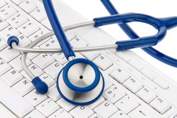 A computer keyboard and stethoscope. IT for physicians.
